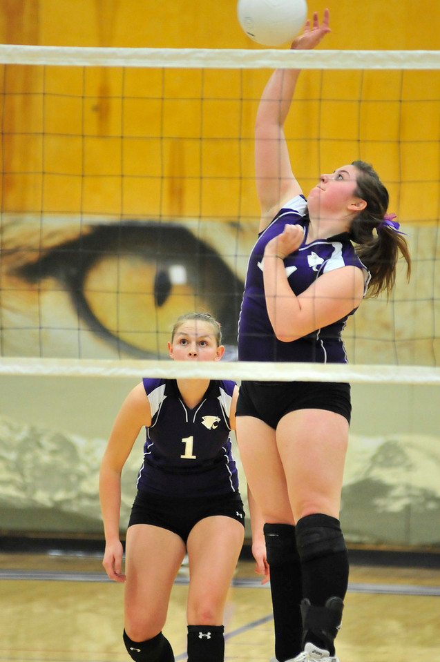 Photo by Walt Hester<br /> Aly Kane hits a ball through the Mead defense on Tuesday. Kane help Mavericks 3 games to 2.
