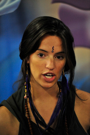 Photo by Walt Hester<br /> Kate Matthews of NY, NY, wears a stick-on adornment on her forehead at the conference on Saturday. Like the practice of yoga, yoga fashion is heavily influenced by India.
