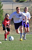 Walt Hester | Trail Gazette<br /> The Ladycats' Kyra Stark looks for an opening against Denver School of Science and Technology on Monday. Stark, again, led the girls in scoring, tallying both of Estes Park's goals.