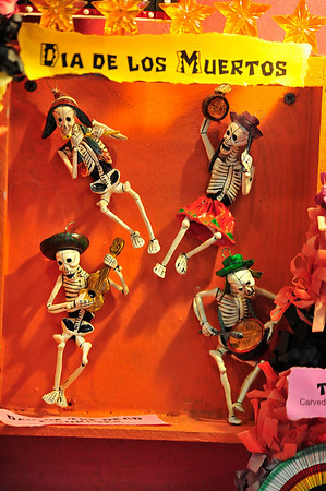 Walt Hester | Trail Gazette<br /> Skeletons represent the Mexica Dia de los Muertos. The hope of the display is that by exposing children to the cultures, they might become inpired to learm and gain understanding of the cultures.