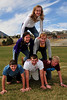 Walt Hester | Trail Gazette<br /> Estes Park High School prom royalty candidates stack up on Tuesday. From bottom, left, they are Dustin Hayes, Zach Eitzen, Cole Thompson, Chelsea Weitzel, Kathryn Hickey and Kimmy Hansen.