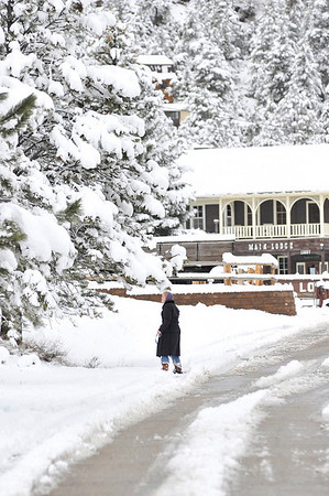 Walt Hester | Trail Gazette<br /> Stephanie LaFave calls to her four-legged companion, Ernie, as she walks near Elkhorn Lodge on Thursday. A spring storm dumped about a foot of wet, heavy snow on Estes Park Wednesday morning into Thursday, but was melting quickly as the day progressed.