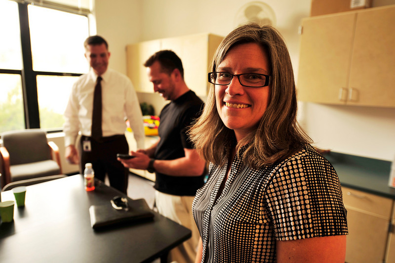 Walt Hester | Trail Gazette<br /> Karen Glassman smiles after a meeting at the Estes Park Elementary School on Wednesday. Glassman will be taking over as principal of the school next year.