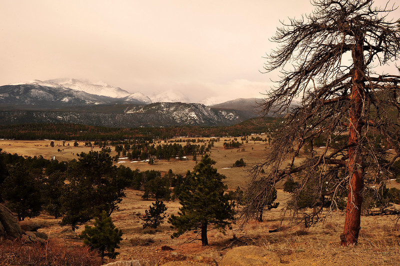 Walt Hester   Trail Gazette<br /> Clouds abscure Longs Peak and much of the COntinental Divide on Wednesday.