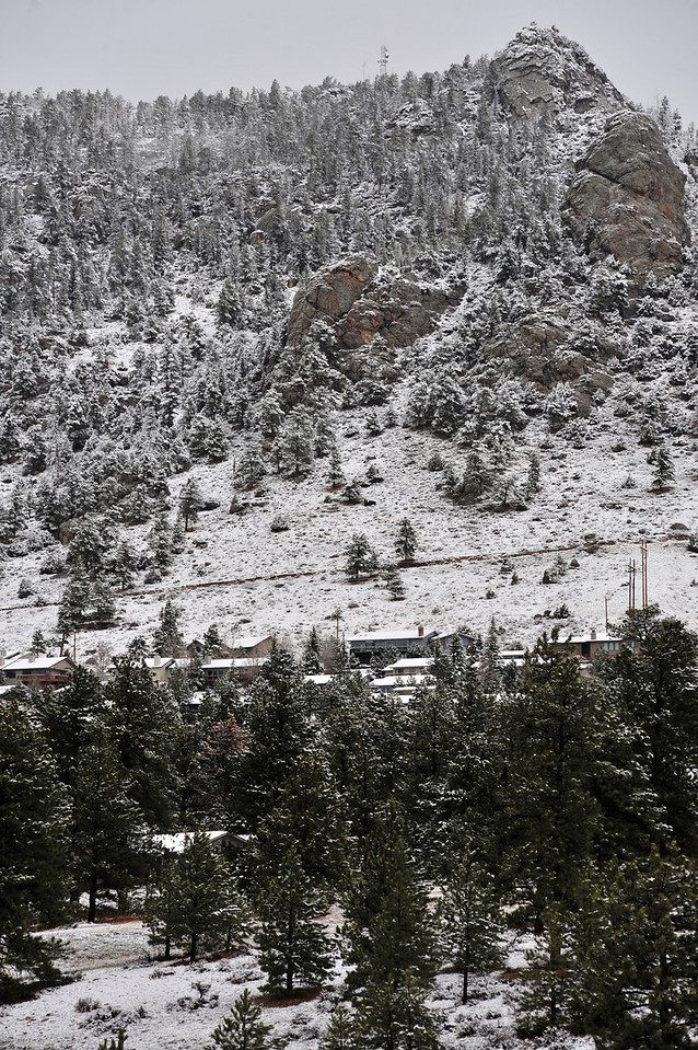 Walt Hester | Trail Gazette<br /> Prospect Mountain sits beneath a blanket of new snow on Thursday morning. Between wind and relatively warm temperatures, most of the snow was gone later that day.