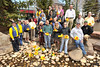 Walt Hester | Trail Gazette<br /> Scott Thompson, far left, and members of the Rotary Ckub of Estes Park stand with the big sponsors of the annual Estes Park Duck Race in Riverside Plaza on Tuesday. While the Rotary Club collects some money from donations to cover overhead expenses, they could not produce the Duck Race without their generous sponsors.