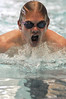 Walt Hester | Trail Gazette<br /> Bobcats' swimmer Justin Wahler strokes toward his final turn in the 100 yard breast stroke on Thursday. While some individual swimmers turned in good times against Thompson Valley, the boys lost their final home meet of the season.