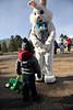 Walt Hester | Trail Gazette<br /> Cole Ingram, 2, seem apprehensive as he approaches a towering Easter Bunny.