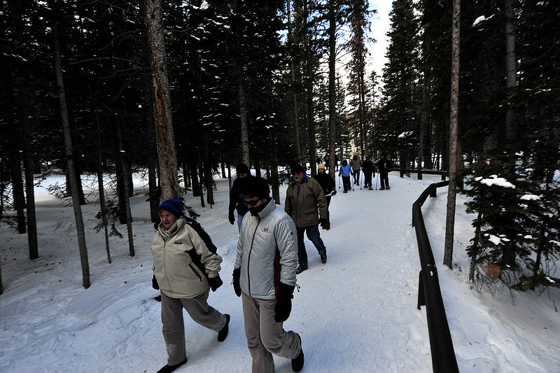 Walt Hester | Trail-Gazette<br /> A glut of hikers heads back to the Bear Lake parking lot. Year round, Bear Lake is a very popular hike in the National Park.