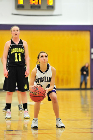Walt Hester | Trail-Gazette<br /> Tiny reshman guard Bizzy Palmer made two free throws after replacing the injured Kyra Stark. The free throw were the first varsity points for Palmer.