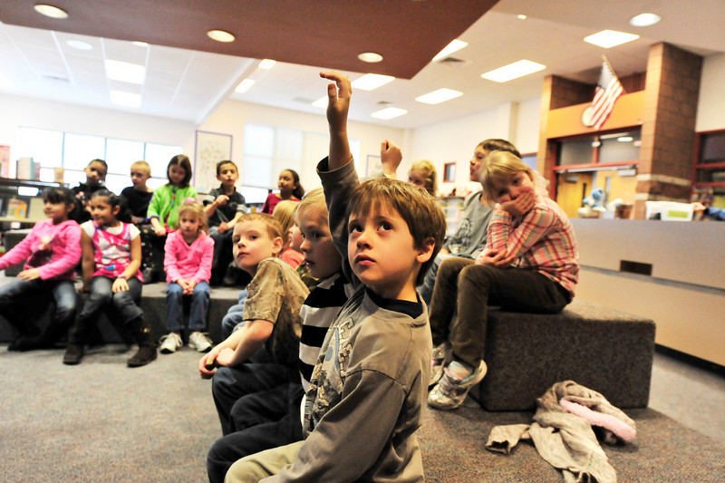 Walt Hester | Trail-Gazette<br /> First-grader Jonah Stephens knows the answer in the elementary school library on Wednesday.