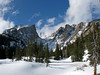 A snow covered Dream Lake in Rocky Mountain National Park.