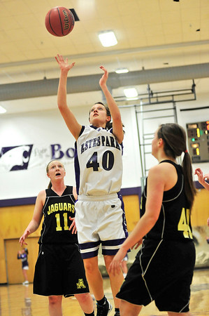 Walt Hester | Trail-Gazette<br /> Chelsea Weitzel elevates over the Jefferson Academy defense in the first half. Weitzel scored all of the Ladycats' first-quarter points and lead te team with 16 total points.