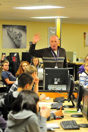 Walt Hester | Trail-Gazette<br /> Estes Park High School Tech instructor Bob Regan starts the new semester with safety instructions on Wednesday.