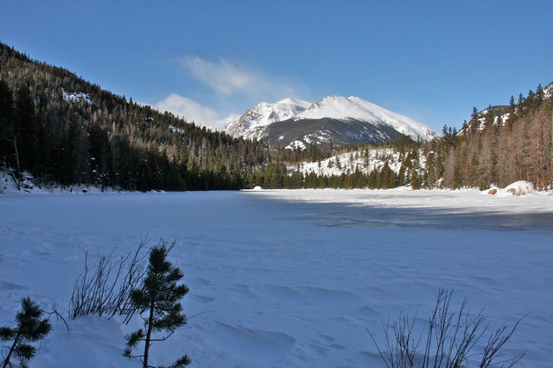 Cub Lake is covered in fresh snow and ice.
