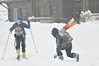 Walt Hester | Trail-Gazette<br /> Back country skiers slip and slide toward the slope at Hidden Valley on Tuesday. While the lifts have been removed, skiers and boarders still take the opportunity to ride the mountains in the national park.