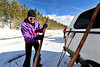 Walt Hester | Trail-Gazette<br /> Howard Guenther waxes his skies before heading to higher ground on Wednesday. Continuing snow should bring more recreational opportunities for those who seek it.