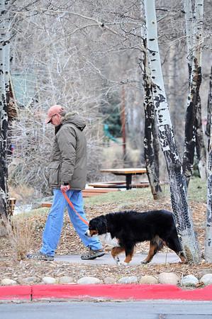 Walt Hester | Trail-Gazette<br /> Gary Slake and his dog Marley make their way through aspens along West Riverside Drive on Wednesday.