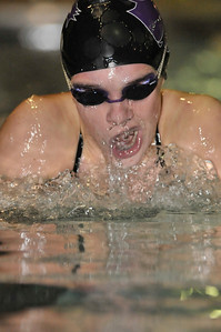 Walt Hester | Trail-Gazette Kate Hewson swims to 1:20.17 in the 100-yard breaststroke. At 14, Kate's times are quickly closing on those of her older sisters, record-holders for the Ladycats.