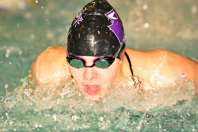 Walt Hester | Trail-Gazette Audra Sherman swims the butterfly leg of the 200-yard medley relay against Skyline on Tuesday. Sherman is one of the senior captains for the Ladycats.