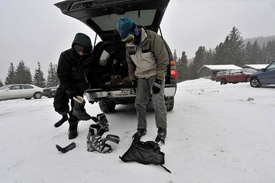 Walt Hester | Trail-Gazette A pair of back country skiers prepare for an afternoon in new snow. Whith 95 percent of the national park being wilderness, there are plenty of opportunities to enjoy the park by yourself.