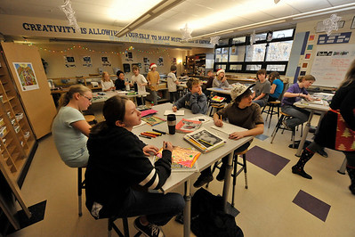 Walt Hester | Trail-Gazette Students at Estes Park Middle School enjoy some creative time in their art class on Wednesday.