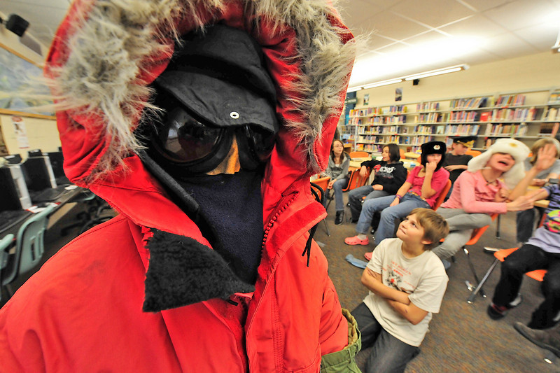 Walt Hester | Trail-Gazette<br /> Max Wolter, 12, is completely enveloped in extream cold-weather gear at the Estes Park Middle School on Thursday. The National Oceanic and Atmospheric Administration visited the school's sixth-graders as part of their studies of weather, including weather stations, like that at the South Pole.