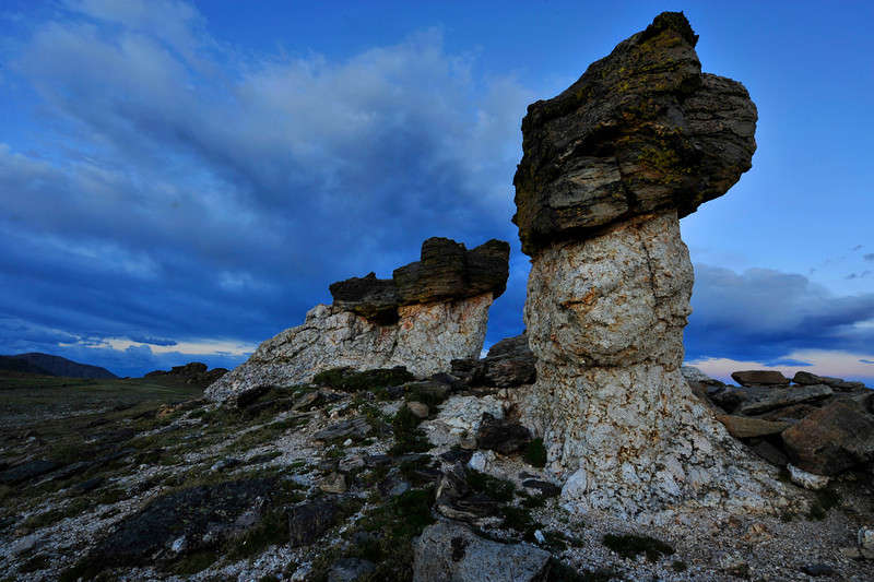 Walt Hester | Trail-Gazett<br /> Odd rocks along the top of Trail Ridge Road hint at the long past history of this area. Hundreds of millions of years ago, these formations were at the bottom of a shallow sea.