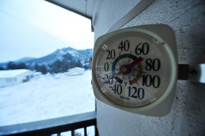 Walt Hester | Trail Gazette<br /> A thermometer in Carriage Hills registers the coldest reading seen in Estes Park in years on Tuesday morning. Classes were cancelled at all Estes Park schools as a result of the cold.