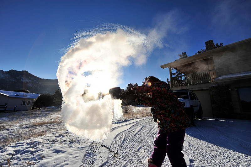 Walt Hester | Trail Gazette<br /> What went up as boiling water, comes down as snow in Wednesday morning's Arctic air. Thermometers read -32 degrees in some parts of Estes Park.