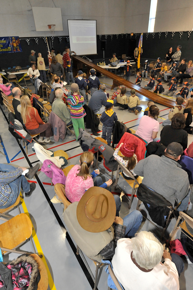 Walt Hester | Trail Gazette<br /> Parents, siblings and Cub Scouts gather at the Mountain View Bible Fellowship's gym for the annual Pinewood Derby on Saturday.