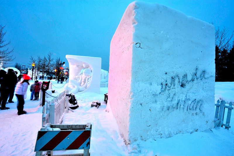 Walt Hester | Trail Gazette<br /> On block is left untouched for visitors. Each artist or team begins with a 20-ton block of snow onto which they can project their artistic visions.