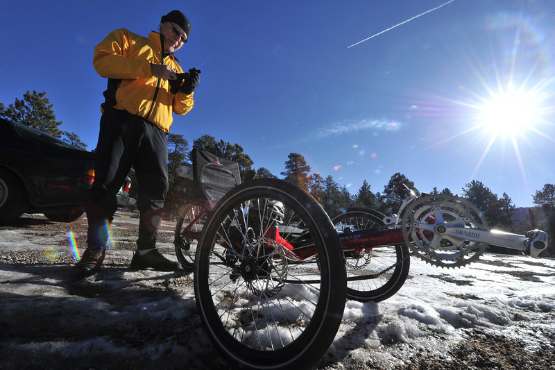 Jim Weaver prepares for a ride on the Fish Creak Trail on Wednesday. Outdoor enthusiasts will have very different weather this weekend, as a front is expected to bring back fridged temperatures and snow over the weekend.