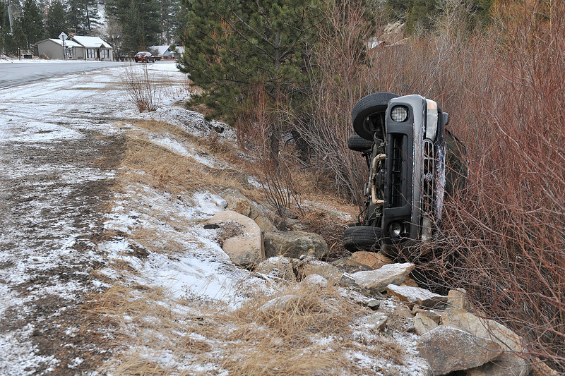 A late model Subaru rests in the willows along the Big Thompson River about a half-mile east of Estes Park on Monday morning. The latest snow slickened roads but did little to break the current drought.