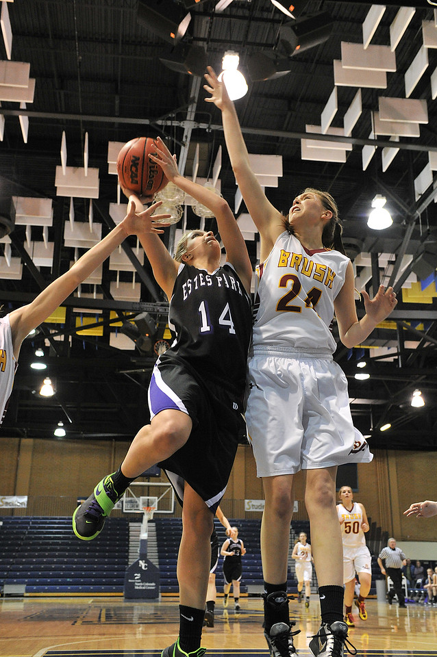 Estes Park's Karin Kingswood tries to find some daylight inside against a tall Brush squad in Friday's matchup. In spite of the apparent height advantage, the Ladycats' defeated the Beetdiggers to take the fifth seed out of the tournament and a slot in the girls' 3A state playoffs, which begin next week.