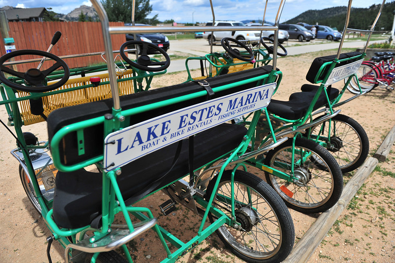 Surries await riders at the marina. The Lake Estes Marina rents the surries as well as bicycles to pedal around the lake.