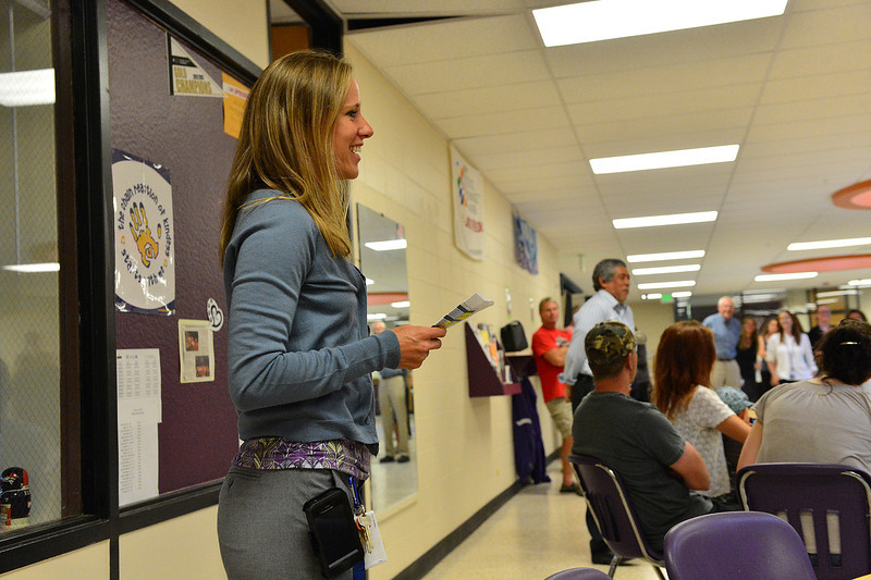 Middle school principal Ruby Bode addresses parents and students at the annual open house on Wednesday. Parents met teachers, visited classrooms and enjoyed snacks at the event.