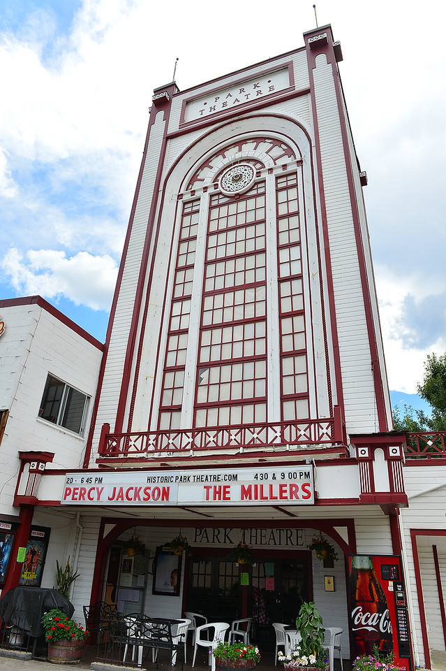 The Park Theater stands as a landmark in downtown Estes Park on Wednesday. The theater will host Bronco game screenings at least through September and into October.