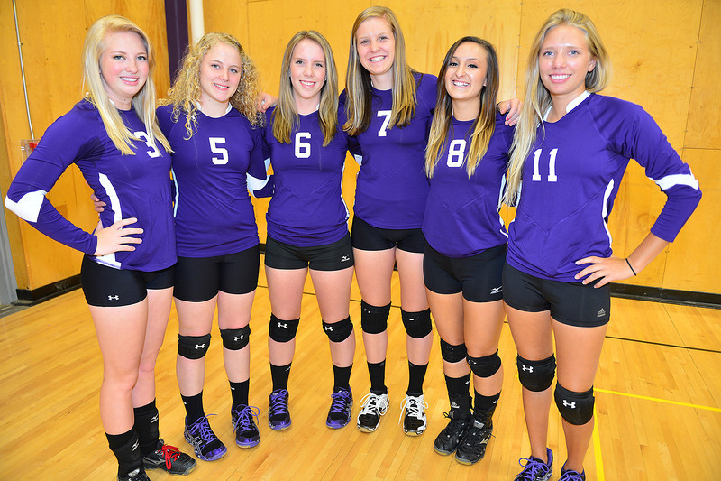 The Estes Park Ladycats volleyball team sports their new uniforms for Wednesday's picture day. From left; Lanie Clark, Susannah Jones, Becky Reilly, Ali Scheil, Maya Michener and Kendra Bellman make up the largest group of seniors the team has enjoyed in several years.