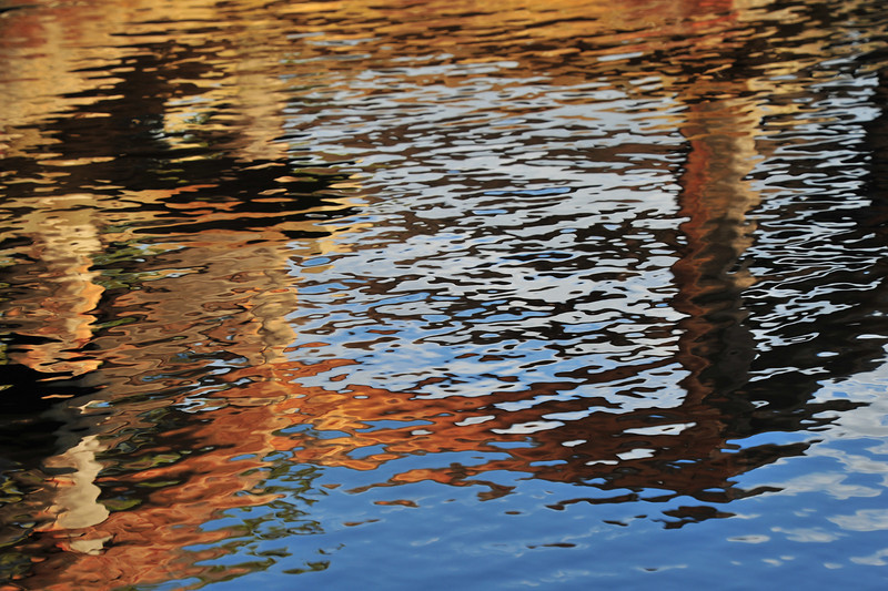 Reflections make abstract forms on Sprague Lake on Tuesday.