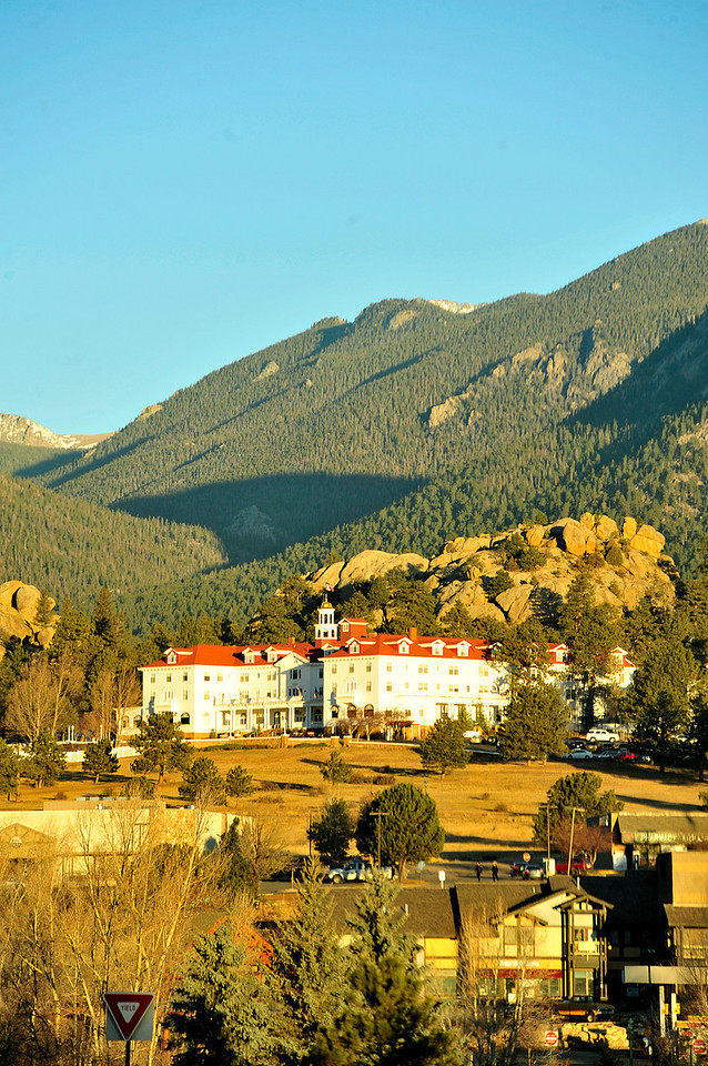 Briliant sunshine illuminates the Stanley Hotel on Monday morning. Clouds may be the rule for the weekend, as cooler weather rolls in.