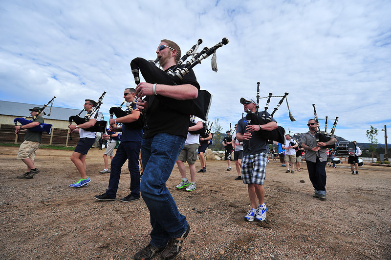 A pipe band marches into the Stanley Fairgrounds arena on Thursday morning. The rodeo arena becomes Estes Castle this weekend as Estes Park welcomes the 37th annual Longs Peak Scottish-Irish Highland Festival to town.