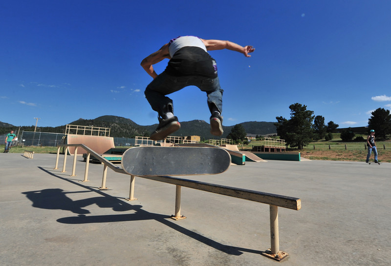 A skater attempts a stunt at the Estes Valley Skate Park on Wednesday.