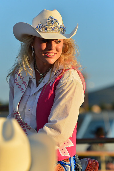 Larimer County Lady in Waiting, Danielle Mayer, smiles in the brilliant evening light last week. The ladies in waiting are generally the successors and follow the queens to get an idea of what will be expected of them when they take the crown.