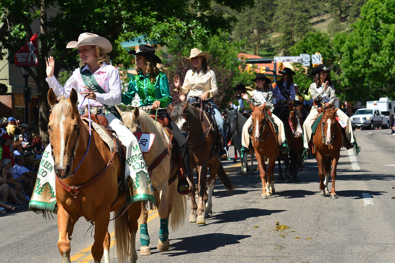 An impressive gathering of rodeo queens travels up Elkhorn Avenue last week. Queens travel thousands of miles every year, visiting rodeos and events and representing the sport.