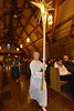 The Christmas Star, carried by Ashley Prose, makes the anticipated entrance into the sactuary on Sunday evening. The annual pageant gives religious school students a chance to be stars, literally.