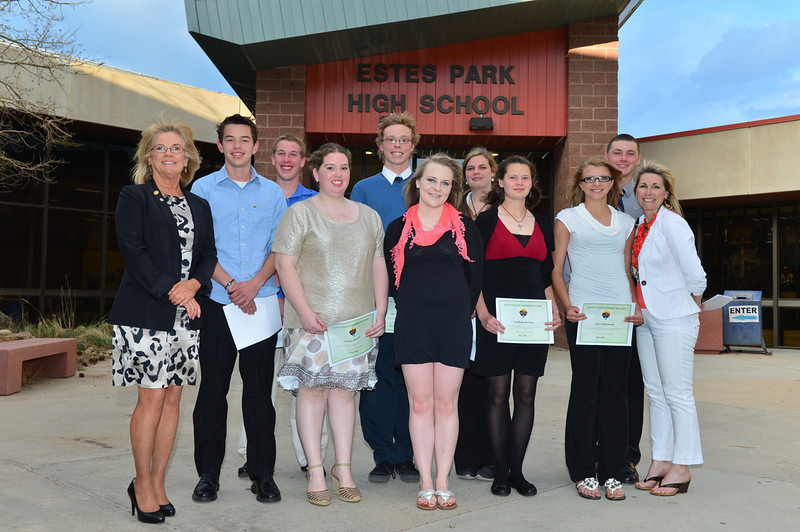 Connor Bryant, John Caleb Weber, Lindsay Marquez, Luke Holmes, Brittany Blackman, Allyson Hannah, Annabelle Westley, Karin Kingswood, and Austin Severin each receive $1,000 from Marcy Predmore and Jane Schoen of the Sunrise Rotary. Also receiving the scholarship are Noah Purdy, Amanda Dill, Andrew Cirone and Erin Barker.