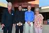 Ian McLain receives $1,000 from the Kiwanis Club of Estes Park Hal Wilson Memorial Scholarship and John Caleb Weber received $1,000 from the Kiwanis Club of Estes Park Vocational Scholarship from Don Osborn and Patti Donahue of the Kiwanis Club.