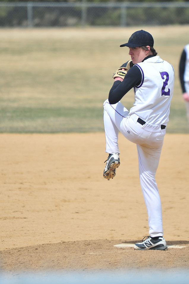 Adam Tulley winds up against the Highland Huskies on Saturday. Tulley gave up ten runs in three innings of game two against the visiting Huskies.