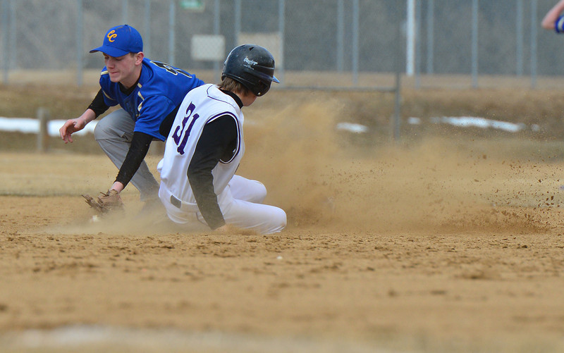 Alex Fraser beats the throw to second base against Clear Creek on Saturday. Fraser finished the game with a team-leading three RBIs.